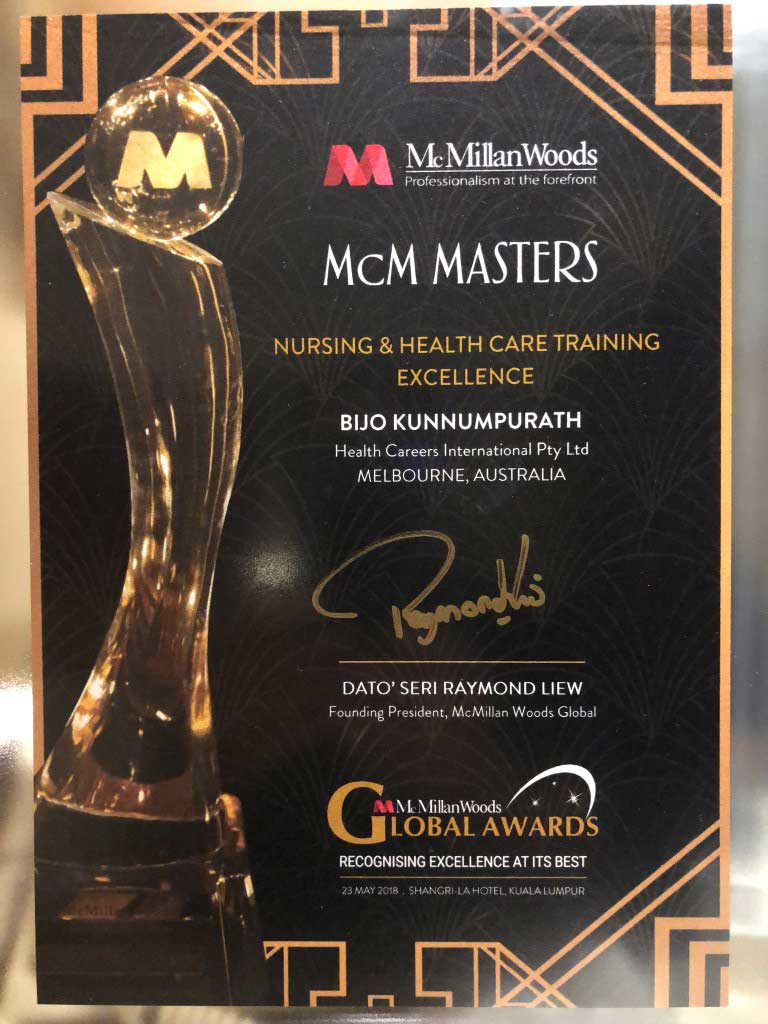 IHNA recieved the McMillan Woods Global Awards 2018