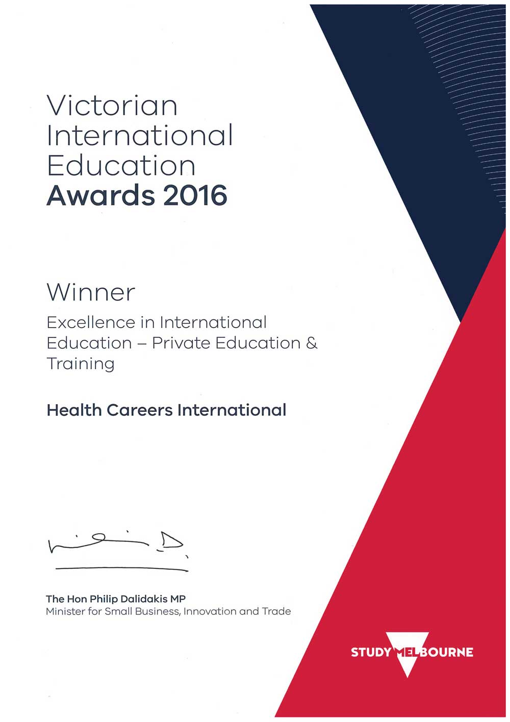 Victorian International Education Award